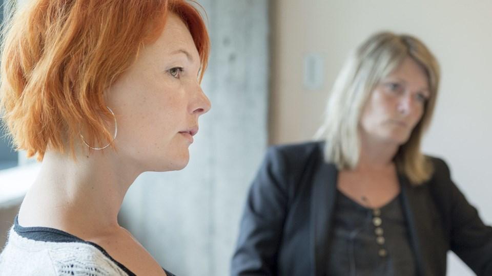 TR Kathja Ryom og Birgit Hansen er ikke helt enige om kommunens politik over for socialpædagogerne. Arkivfoto: Jan Pedersen