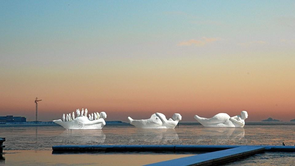 Sådan nogenlunde kommer det til at tage sig ud, når de tre sejlende skulpturer, skabt af norskfødte Benthe Marit Norheim i den kommende uge sætter kursen mod Løgstør. ?Foto: Malene Pedersen