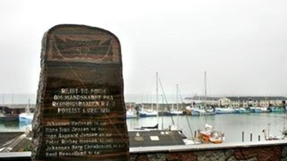 """Mindestenen for de seks omkomne redningsmænd om bord på """"RF2"""". Arkivfoto: Hans Ravn"""