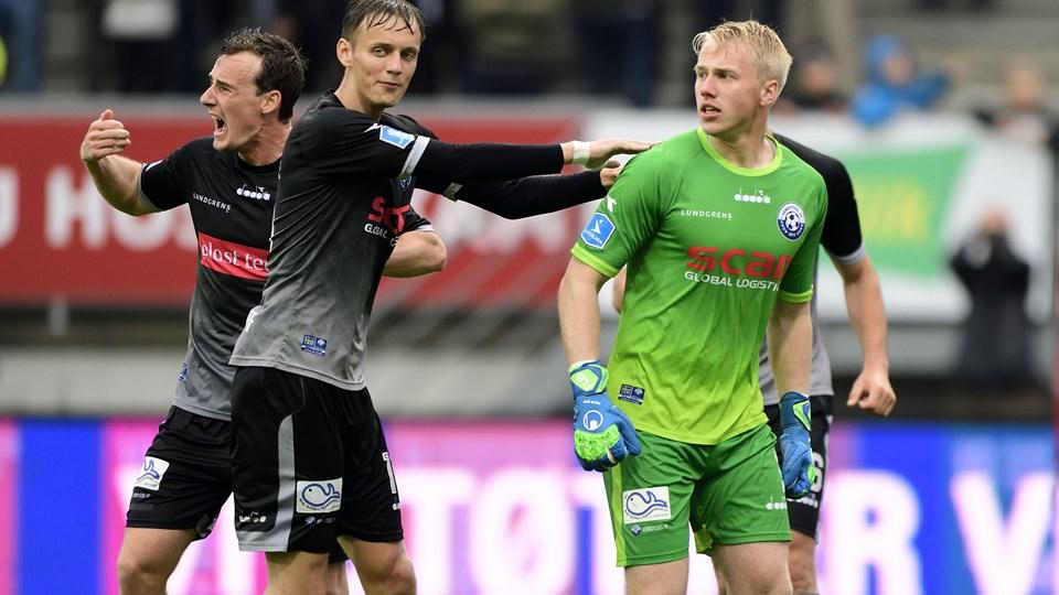 Andreas Kaltoft, Nicolai Flø og Vendsyssel FF er i frit fald i Nordic Bet Ligaen. Arkovfoto: Tariq Mikkel Hhan