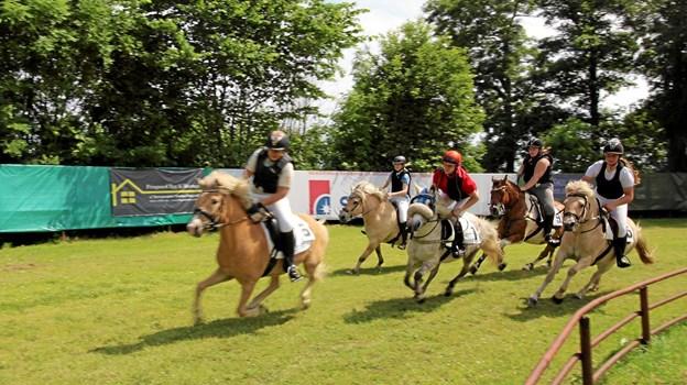 Der var fart over feltet, da årets væddeløb fandt sted i Asaa i søndags. Billedet her er fra første løb, der var et galopløb for ponyer.Foto: Jørgen Ingvardsen