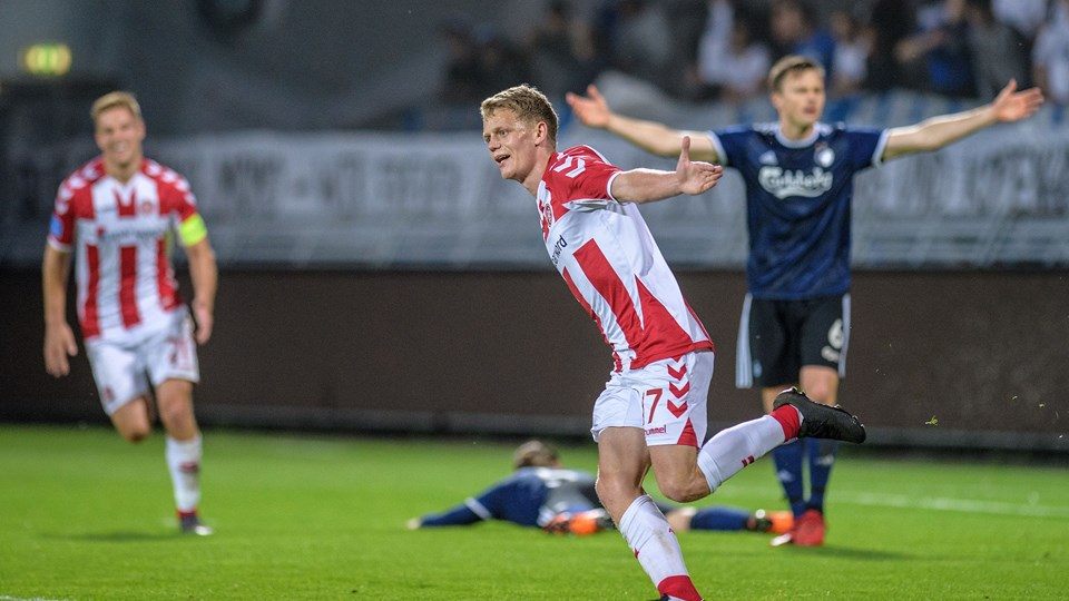Kasper Kusk i jubel, efter han kort forinden havde afgjort kampen mod FC København. Foto: Peter Broen