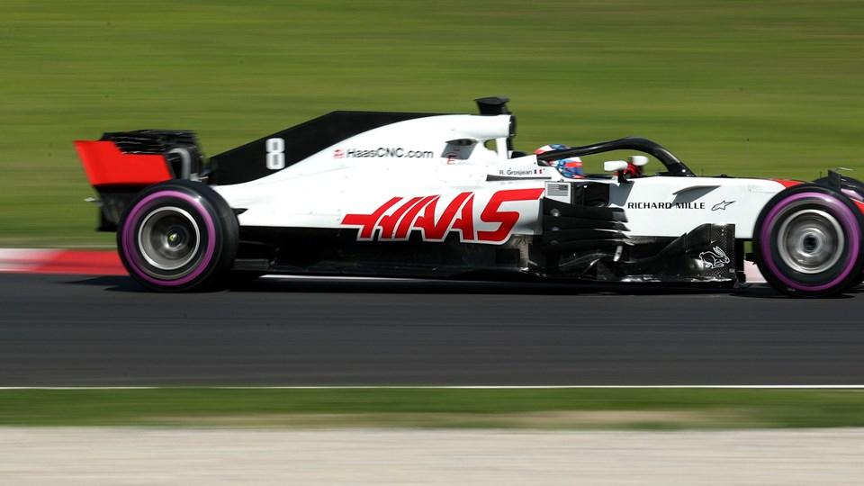 Romain Grosjean fuldendte et par gode testdage for Haas, da han kørte på sidste testdag fredag i Barcelona. Foto: Reuters/Albert Gea