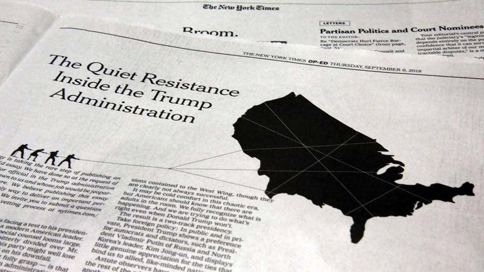Sprogbruget i en anonym kronik, der blev bragt 6. september i The New York Times, kan måske give ledetråde om, hvem forfatteren er. Foto: Richard Drew/Ritzau Scanpix