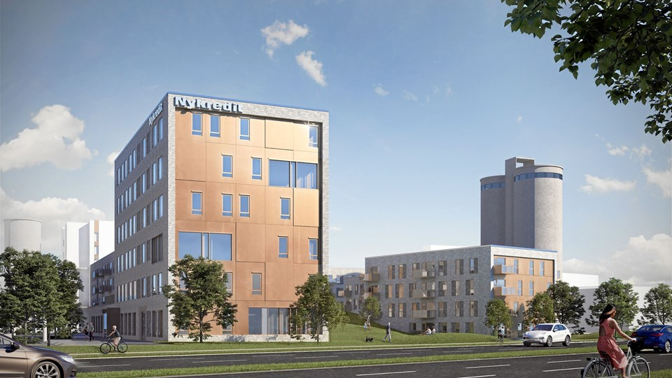 Friis & Moltke har tegnet bygningen, som vender ud mod Sønderbro og beklædes med metal i en gylden nuance.