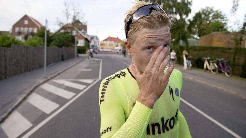 Michael Valgren jubler efter holdets etapesejr onsdag. Arkivfoto: Tomas Sjørup/Scanpix