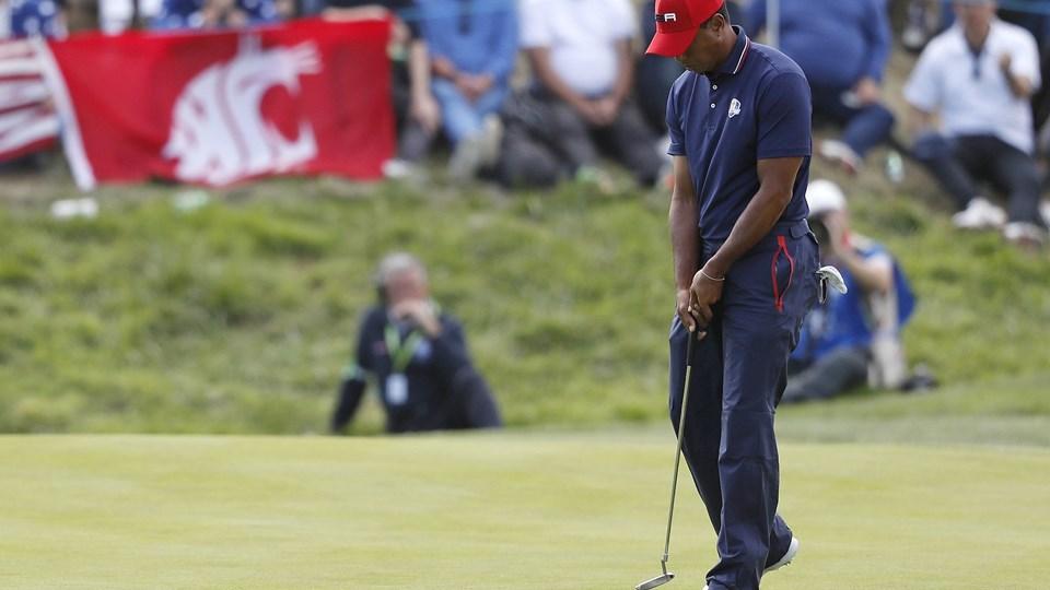 Tiger Woods skuffede ved Ryder Cup i Frankrig, hvor USA måtte afgive titlen til Europa. Foto: Alastair Grant/Ritzau Scanpix
