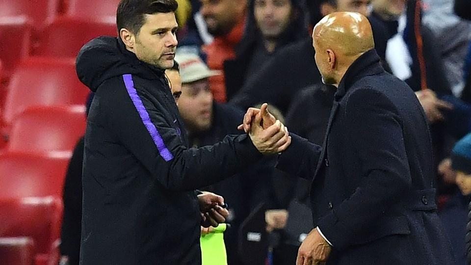 Tottenham-manager Mauricio Pochettino kunne være mest tilfreds, da han hilste på Inter-manager Luciano Spalletti efter sejren i Champions League i denne uge.