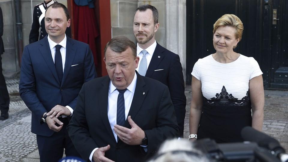 Statsminister Lars Løkke Rasmussen (V) præsenterede onsdag tre nye navne til sit ministerhold. Ingen ministre fra Liberal Alliance eller De Konservative blev berørt af rokaden. Foto: Scanpix/Liselotte Sabroe