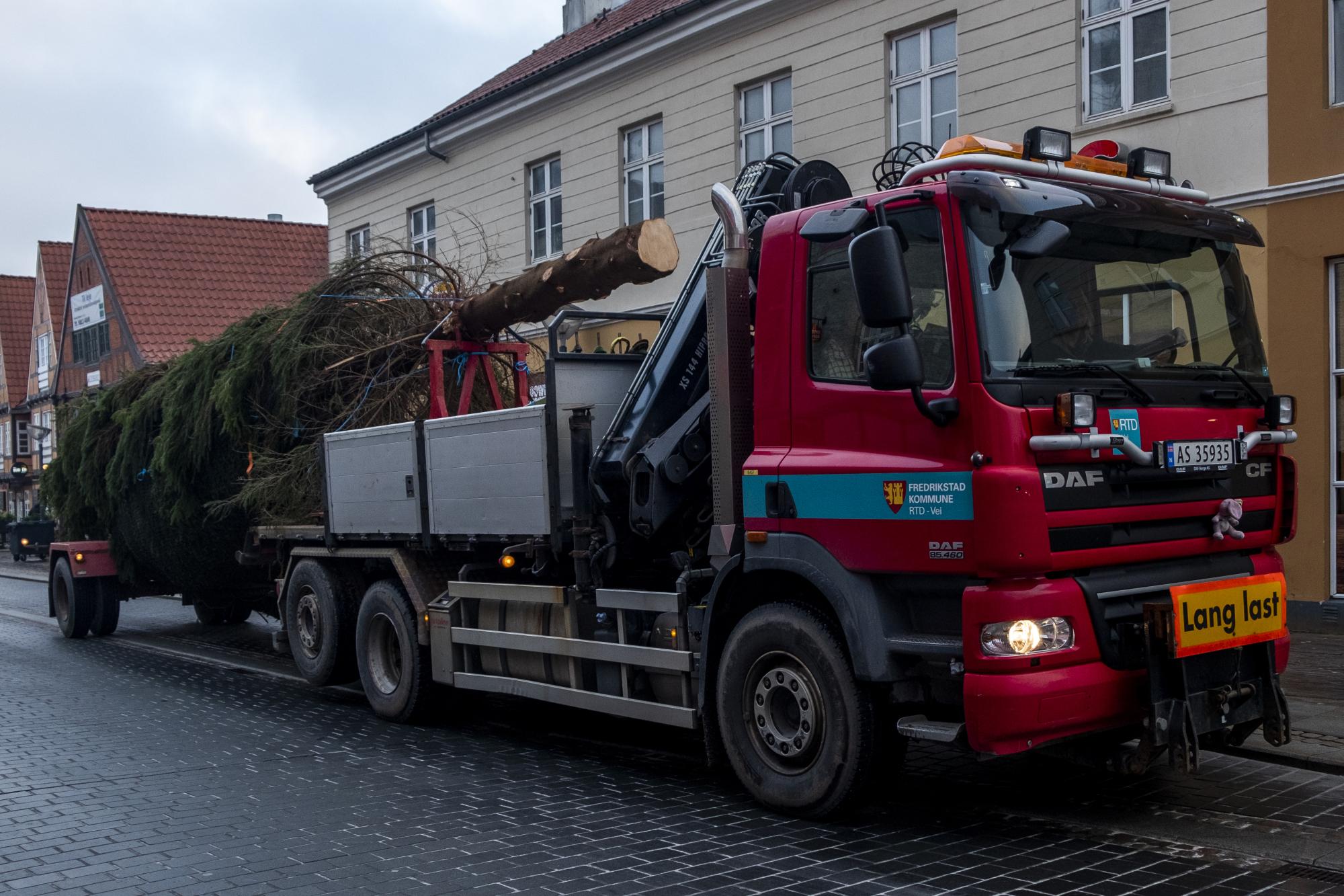 Juletræet fra Frederikstad ankom omkring klokken 8.30 til Nytorv. Foto: Lasse Sand