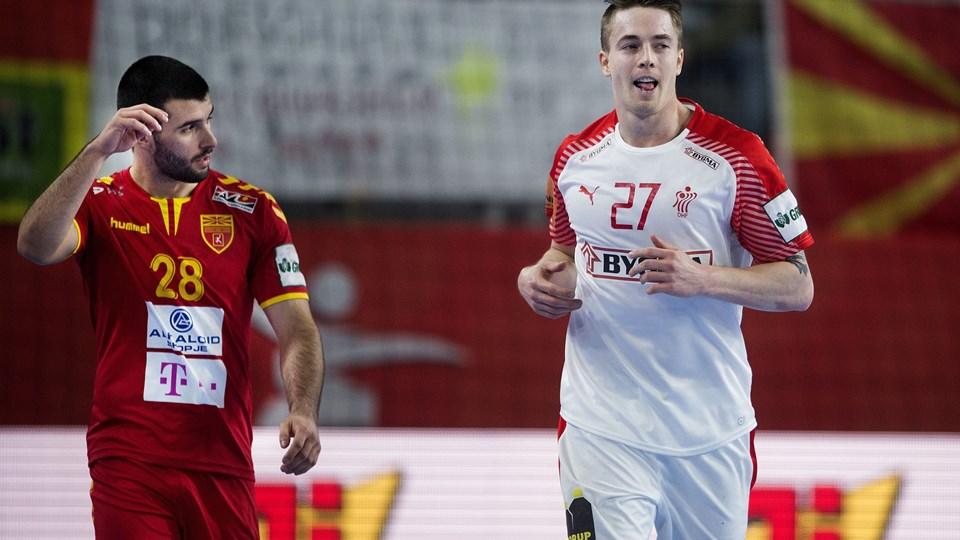 Michael Damgaard brugte kun 13 forsøg til at lave sine 11 mål mod Makedonien. Foto: Scanpix/Liselotte Sabroe