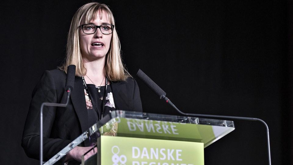 Den nyvalgte formand for Danske Regioner, Stephanie Lose (V), fortalte om sine ambitioner for sundhedsvæsnet på talerstolen ved regionernes generalforsamling i Aarhus. Foto: Scanpix/Henning Bagger