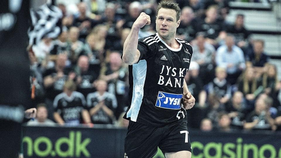 Michael V. Knudsen  scorede to gange i sejren over Aalborg. Foto: Henning Bagger. Arkivfoto./Ritzau Scanpix
