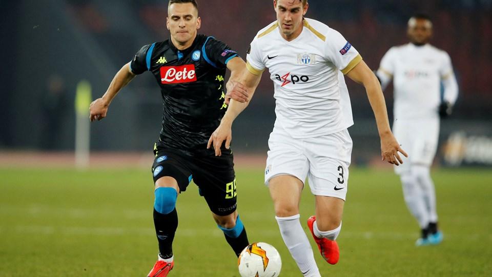 I februar spillede Andreas Maxsø (th.) for FC Zürich i Schweiz, og han var med til at møde Napoli i Europa League.