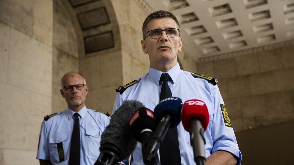 Politidirektør Thorkild Fogde holder pressemøde i forbindelse med skyderiet på Christiania. Foto: Scanpix