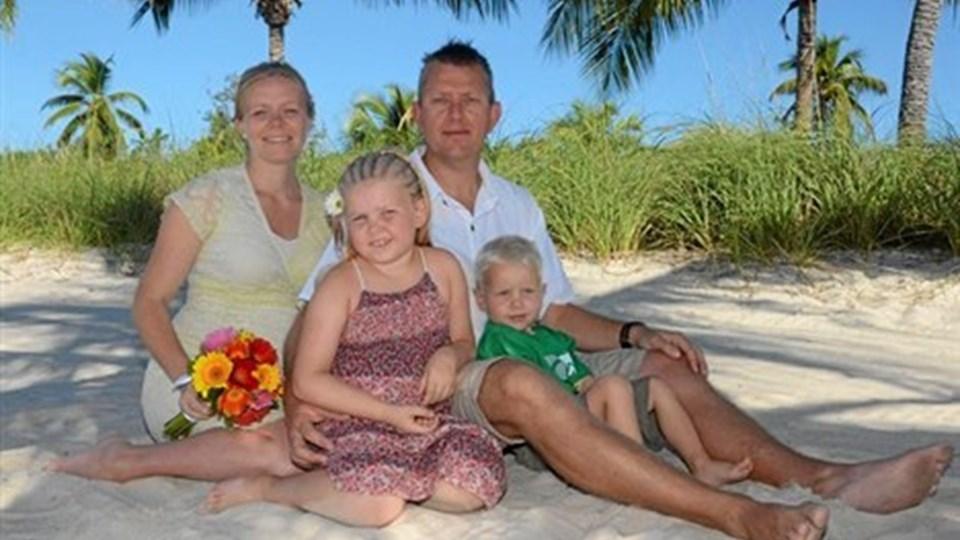 Key West, Florida: Kathrine Kjeldtoft og Søren Mortensen, Fjerritslev. Med på billedet er også børnene Maria og Gustav.