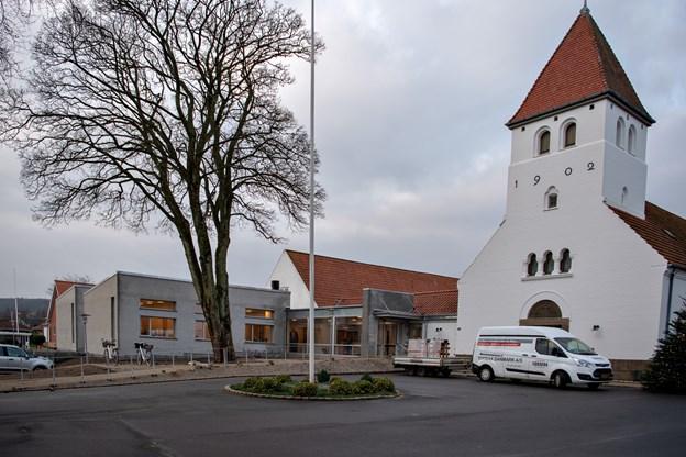 Sådan tager kirken sig ud efter tilbygningen. Foto: Kim Dahl Hansen