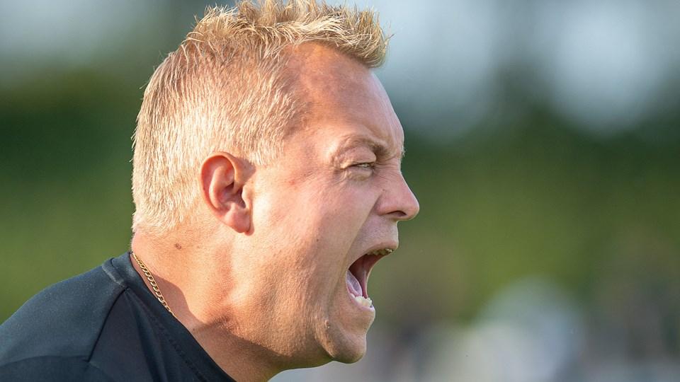 Jammerbugt-træner Bo Zinck ærgrede sig over, at hans hold ikke udnyttede chancerne i første halvleg. Arkivfoto: Peter Broen