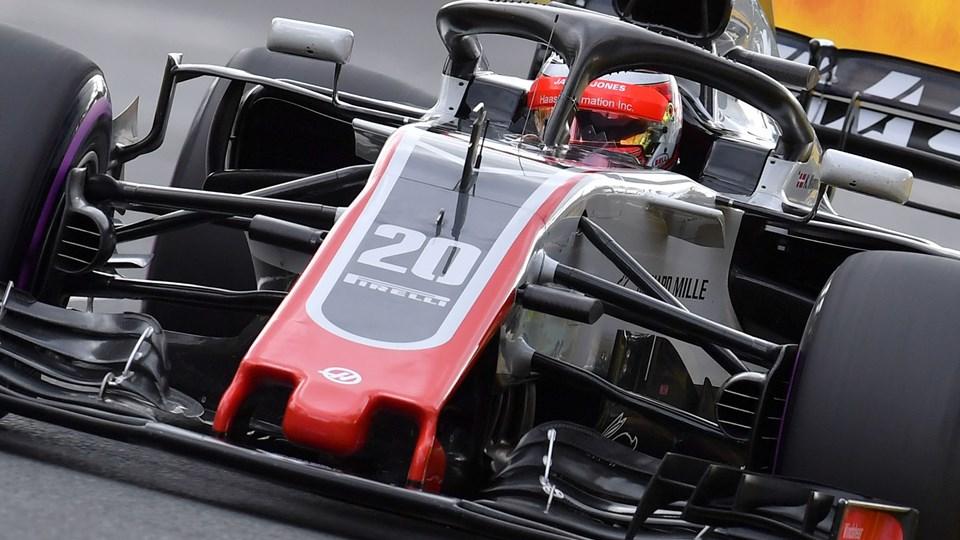 Haas' teamchef, Günther Steiner, er imponeret over Kevin Magnussen (på billedet) efter lørdagens kvalifikation. Foto: Scanpix/Paul Crock