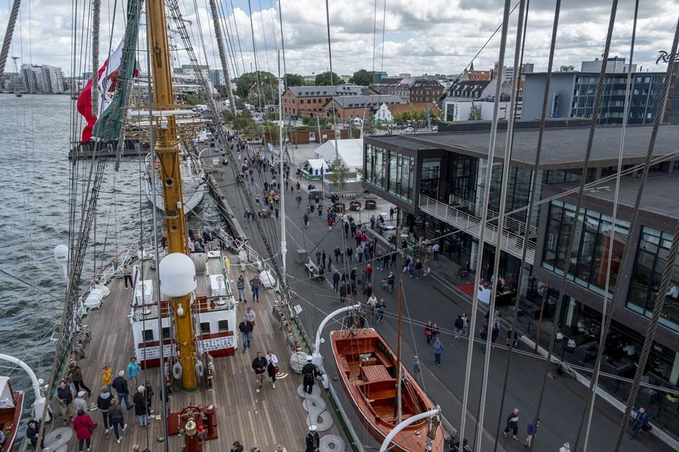 Og pludselig bliver Tall Ships-gæsterne forvandlet til myrer på kajkanten. Foto: Lasse Sand