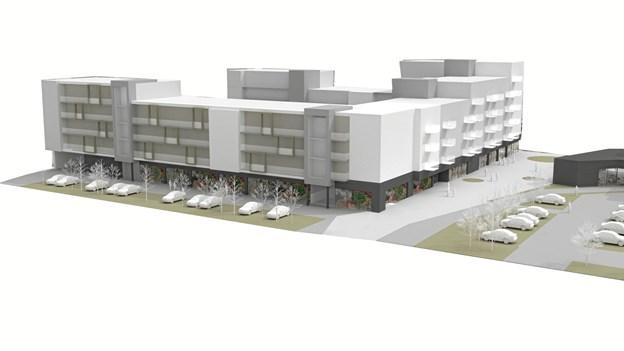 Tornhøjcentret, Tornhøjvej 2, Aalborg Øst – her opfører Dansk Boligbyg a/s nu i totalentreprise 156 boliger samt en Netto-dagligvarebutik, en lægeklinik og et erhvervslejemål for en privat bygherre. Privatfoto