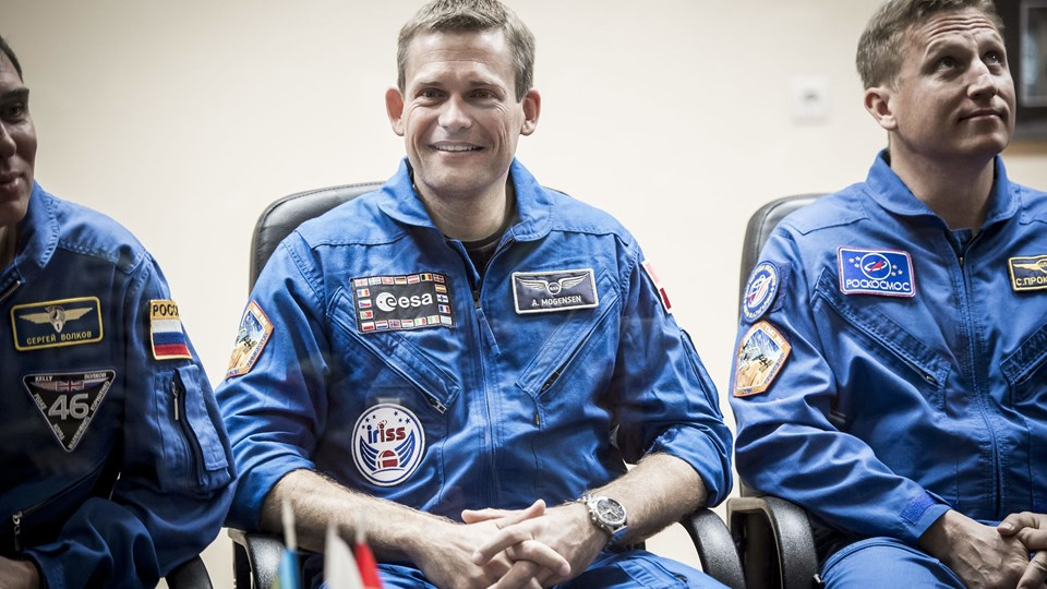 Pressemøde i Bajkonur kosmodome i Kasakhstan. Det sidste offentlige møde med de tre astronauter samt deres backups inden de i morgen skal sendes op til ISS (International Space Station).