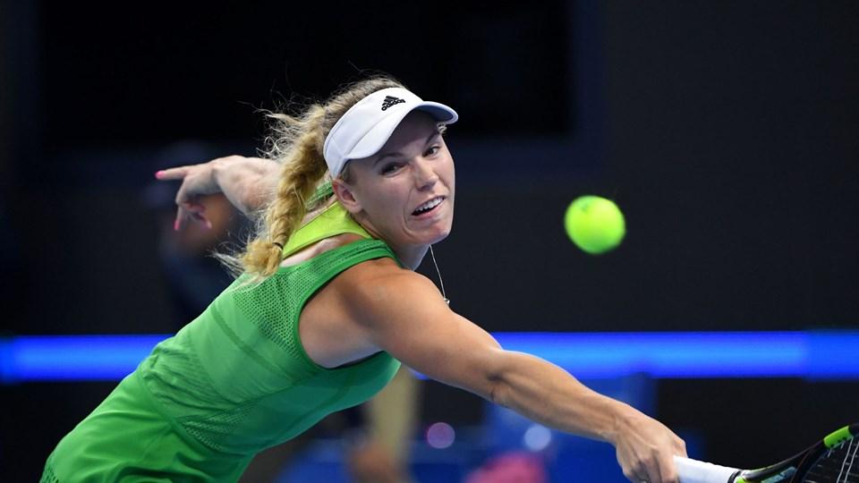 Caroline Wozniacki får en overkommelig opgave mandag. Foto: Scanpix