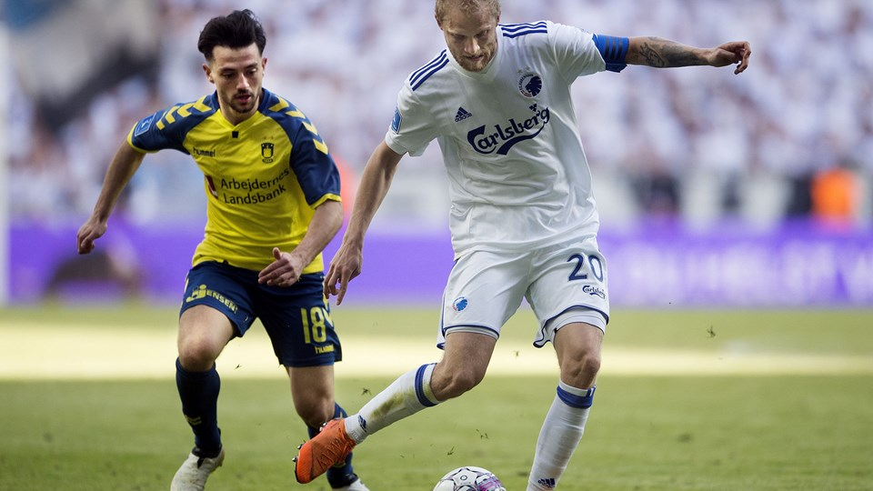 FCK-anfører Nicolai Boilesen (th.) mener, at resultatet 1-1 gav et meget retvisende billede af søndagens kamp mod Brøndby. Foto: Scanpix/Liselotte Sabroe