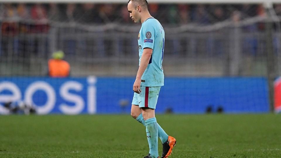 Andrés Iniesta kan have spillet sin sidste kamp i Champions League. Det erkendte stjernespiller efter Barcelonas 0-3-nederlag i Rom. Foto: Reuters/Alberto Lingria