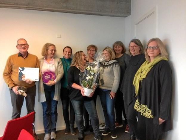 HR Chef Jan Nørgaard og alle HR Konsulenterne, Lilly Pedersen, Pernille Dreier, Jane Leimand, Henriette Wandborg, Kirstine Thøgersen og Anette Hede, flankeret af de to indstillere.