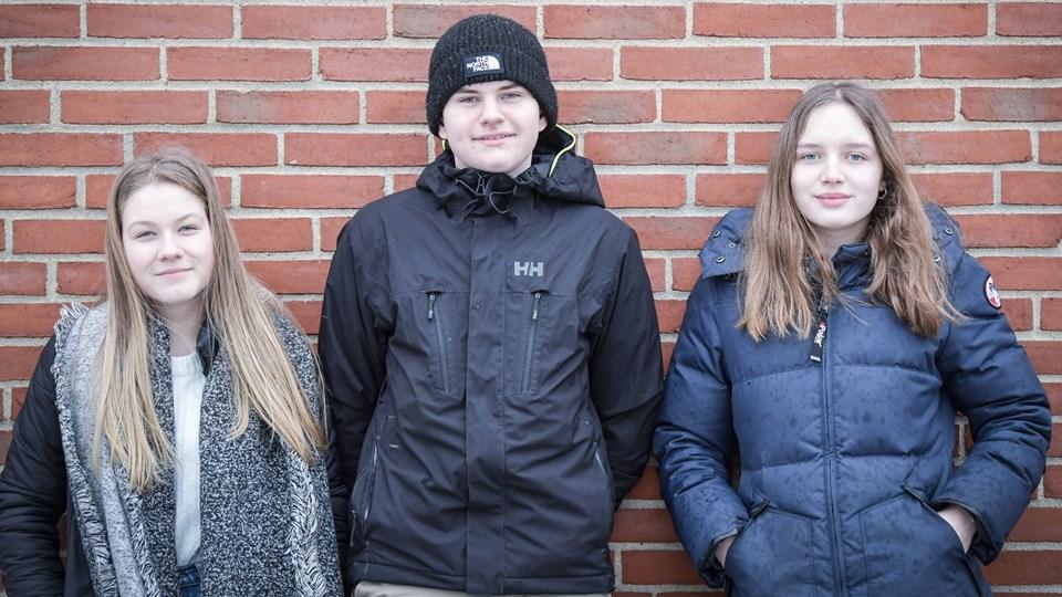 Maja Haubenreisser, Max Heftholm og Laura Hessellund er nogle af de medlemmer af Ungebyrådet i Frederikshavn Kommune, som nu kommer med forslag til, hvordan man hjælper unge med ondt i livet. Arkivfoto: Kim Dahl Hansen