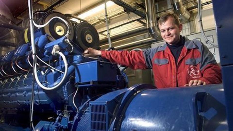 Jens Peter Lunden ved sit biogasanlæg, som nu også leverer varmt vand til Hjørring. arkivfoto: hans ravn