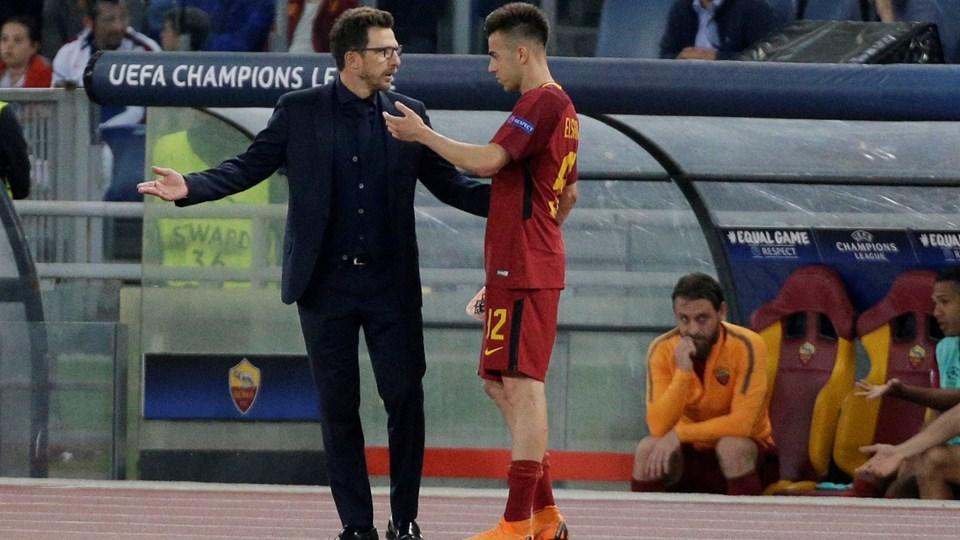 Roma-træner Eusebio Di Francesco prøvede at opildne sit hold, men det var ikke nok til en samlet sejr over Liverpool. Foto: Reuters/Max Rossi