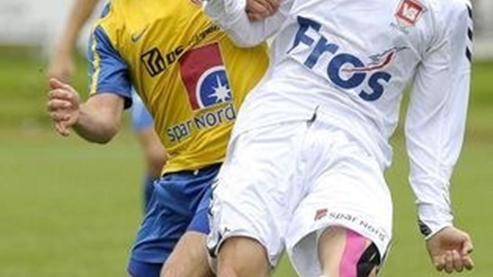 Kasper Fisker - her mod Vejle Boldklub Kolding - tror mest på, at Danilo Arrieta bliver Hobro-topscorer. Foto: Michael Koch