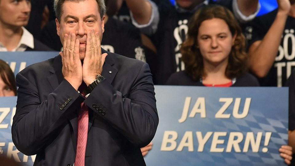 """Bayerns ministerpræsident, Markus Söder, betegner CSU's dårlige resultater i meningsmålingerne som """"et wakeup-call"""". Foto: Christof Stache/Ritzau Scanpix"""
