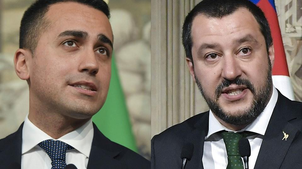 De to hovedpersoner: Femstjernebevægelsens Luigi Di Maio og Ligaens leder, Matteo Salvini. Foto: Scanpix/Tiziana Fabi