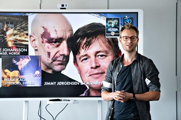 Mathias Madsen Munch ved præsentationen af spillet, der har Jimmy Jørgensen og Caspar Philipson i hovedrollerne. Foto: Kim Dahl Hansen
