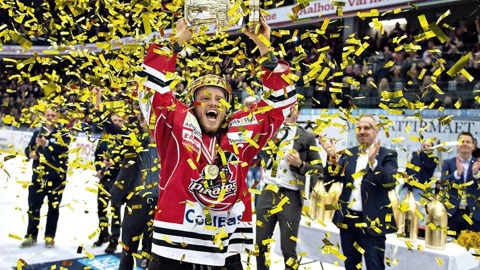 Aalborg Pirates vandt DM-guld i april. De andre klubber vil jagte mestrene i den kommende sæson, vurderer Aalborg-direktør Thomas Bjuring. Foto: Henning Bagger/arkiv/Ritzau Scanpix