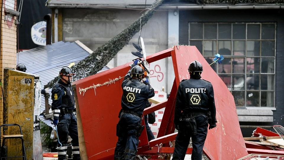 Tidligt fredag morgen fjernede Københavns Politi omkring 40 hashboder i Pusher Street på Christiania. Billedet er fra en lignende aktion i juni 2016. Foto: Scanpix/Liselotte Sabroe/arkiv