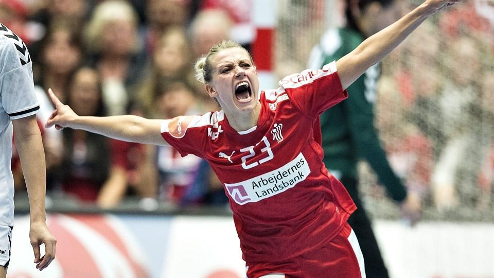 Ann Grete Nørgaard ses her juble under VM i 2015.