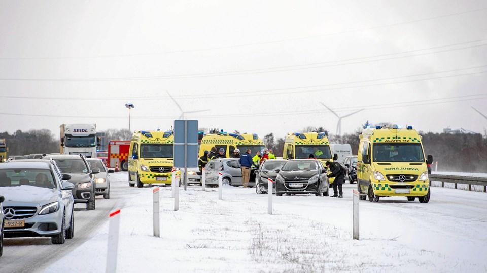 Uheld på E45. Foto: Jan Pedersen