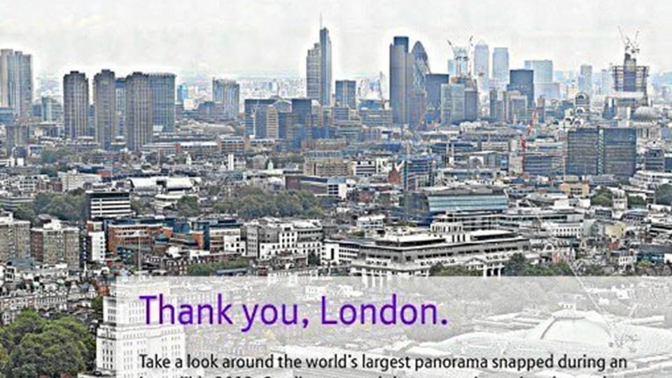 På det superdetaljerede foto af London kan man zoome ind på selv den mindste detalje.