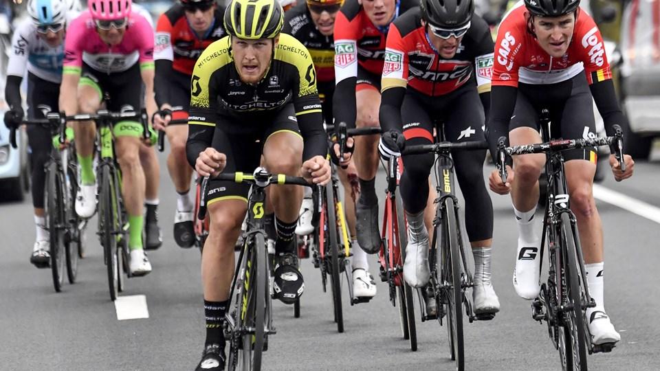 Greg Van Avermaet (nummer to fra højre) hentede en tredjeplads i cykelløbet E3 Harelbeke tidligere på sæsonen. Foto: Scanpix/Dirk Waem