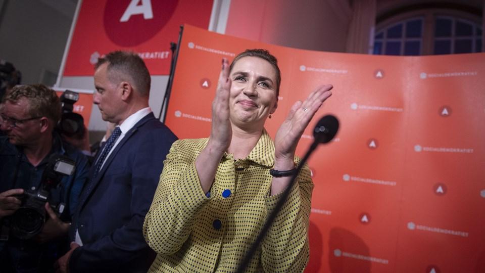 En glad Mette Frederiksen ved valgfesten hos Socialdemokratiet. Foto: Liselotte Sabroe/Ritzau Scanpix