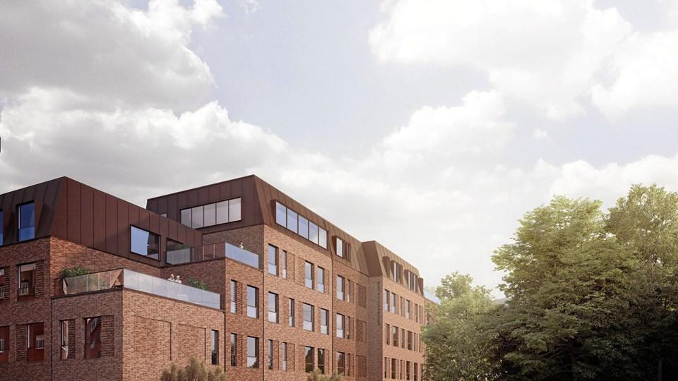 Der bliver 73 boliger på det nye plejehjem Markusgården. Illustration: Friis & Moltke Architects