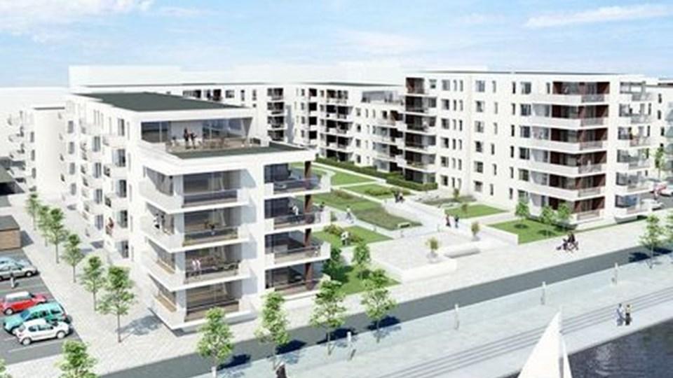 Sådan skal de nye boliger tage sig ud set fra fjorden.