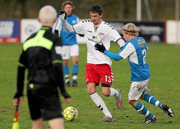 Hals' Anders Jacobsen havde flere gode gennembrud på venstrefløjen. Især efter pausen. Foto: Allan Mortensen