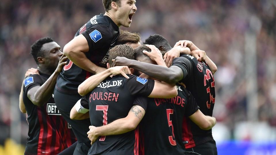 FC Midtjylland tog mesterskabet med sejr i sidste spillerunde mod AC Horsens. Foto: Bo Amstrup/Ritzau Scanpix