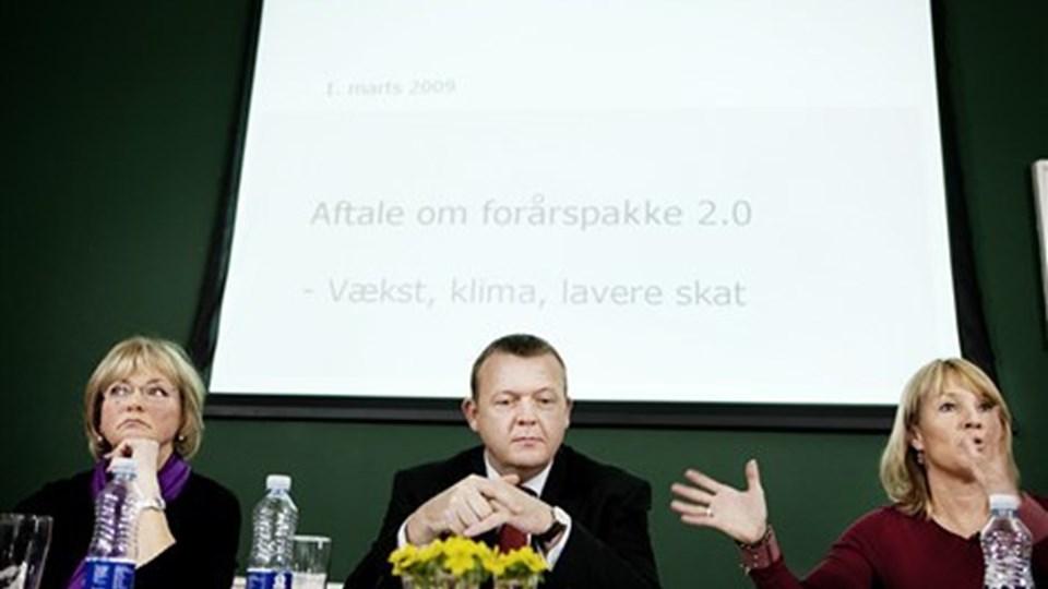 Der er vælgertæsk til de tre partiledere fra VKO. Foto: Scanpix.
