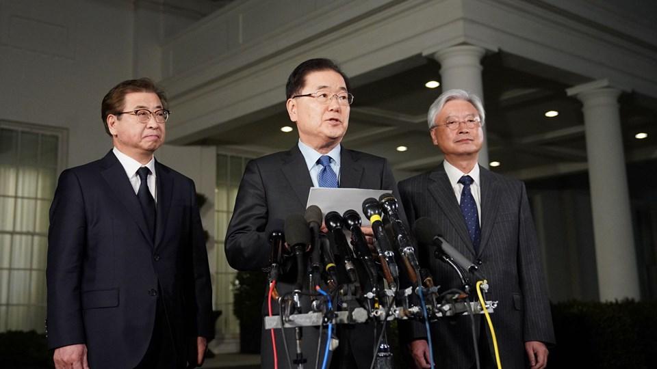 Sydkores nationale sikkerhedsrådgiver, Chung Eui-young, kunne torsdag aften levere opsigtsvækkende nyheder fra Det Hvide Hus, hvor han har briefet præsident Trump om møder med Nordkorea Foto: Scanpix/Mandel Ngan